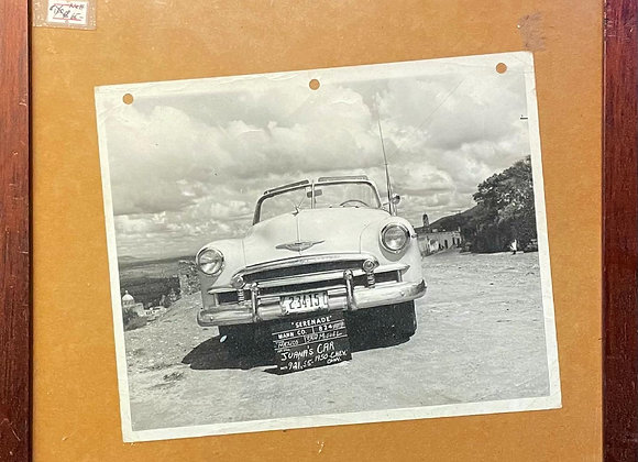Framed Vintage Printed Photograph of 'Juana's Car' from 1955