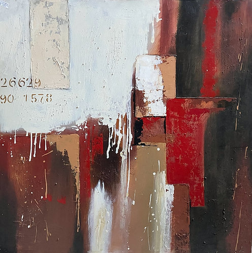 Large Abstract Oil Painting on Canvas by Unknown Artist