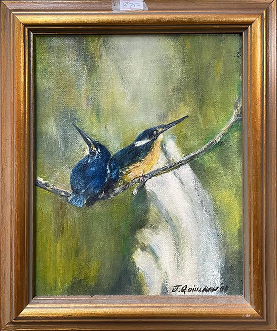 Impressive Oil on Canvas Birds Painting with Original Signature from C.1990's