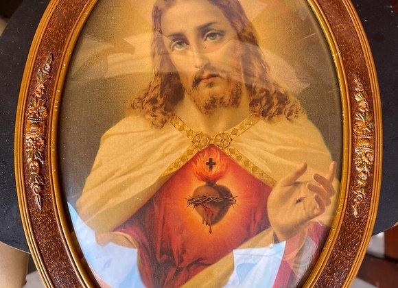 Vintage Print of Jesus in Oval Shape Frame