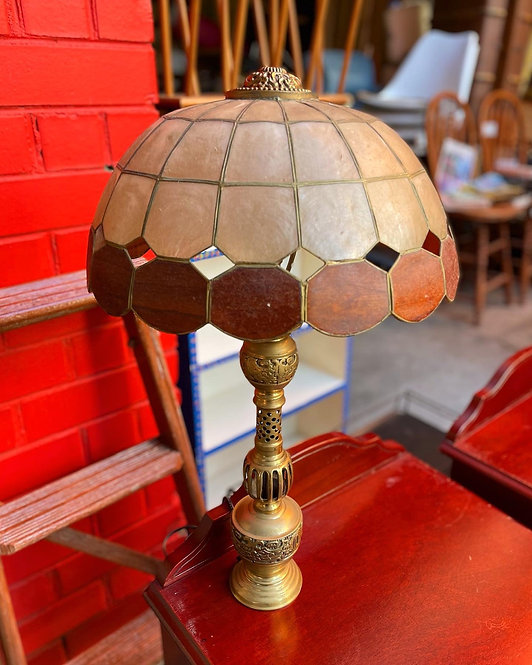 Spectacular Vintage Brass Base Shell Shade Table Lamp