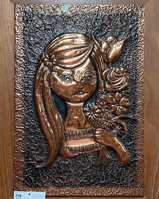 Impressive Framed Copper Artwork of a Girl with Flowers