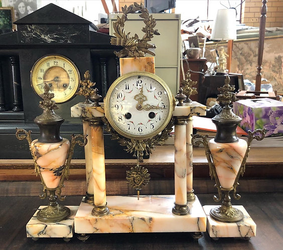 Rare French Antique Empire Style Mantle Clock from C. 1850s