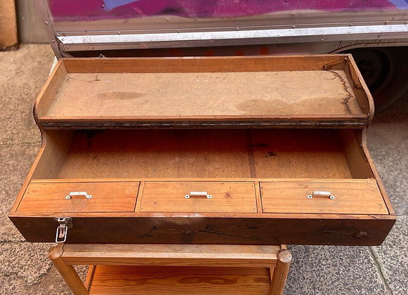 Solid 3 Drawer Wooden Trunk in Original Condition