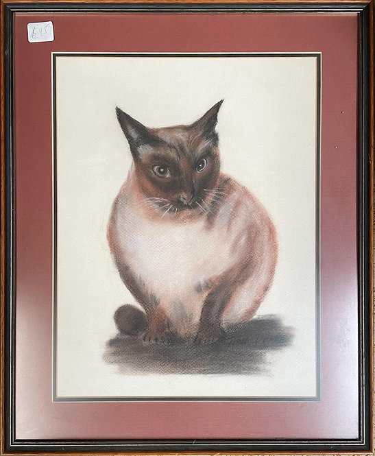 Vintage Framed Pastel Artwork of a Cat Signed by Tina Phane