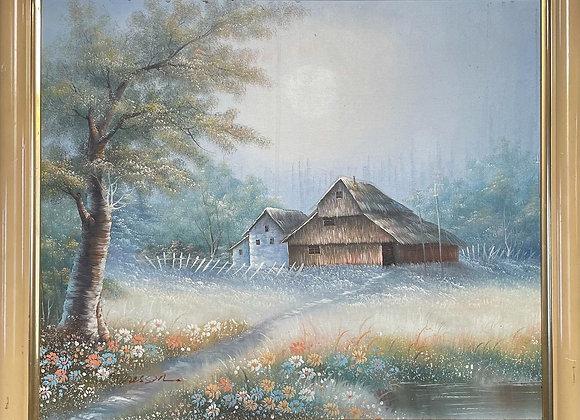 Charming Vintage Framed Landscape Oil Painting signed by Dressen