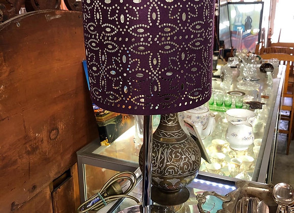 Gorgeous Small Chrome Table Lamp with Brown Shade
