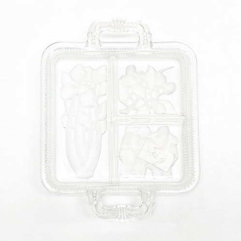 Beautiful Square Glass Tray/Platter with Floral Relief