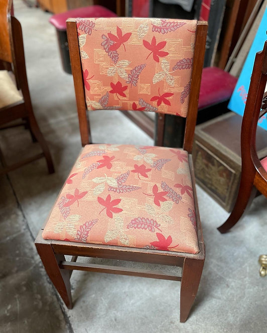 A Pair of Vintage Dining Chairs with Floral Upholstery