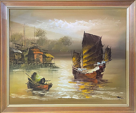 Vintage Artwork of Chinese Junk Ships with Fully Battened Sails from C.1970's