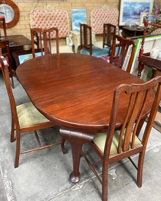 Impressive Antique Edwardian Dining Table on Castors & 4 Chairs