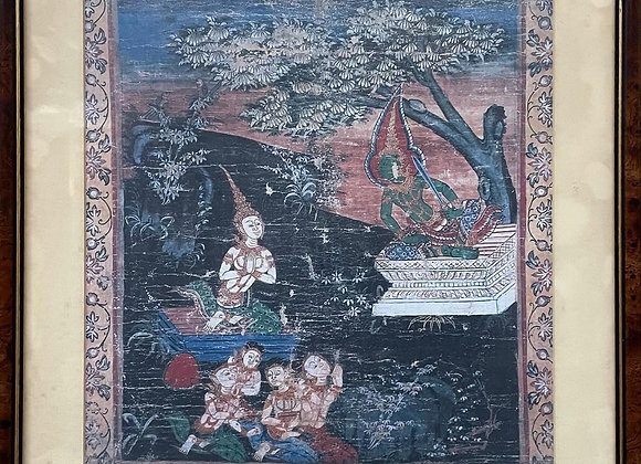 One of the Vessantara Jataka Religious Paintings on Cloth by Unknown Artist (Tha