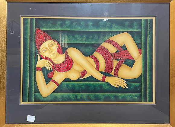 Vivid Framed South East Asian Artwork of a Woman by Unknown Artist