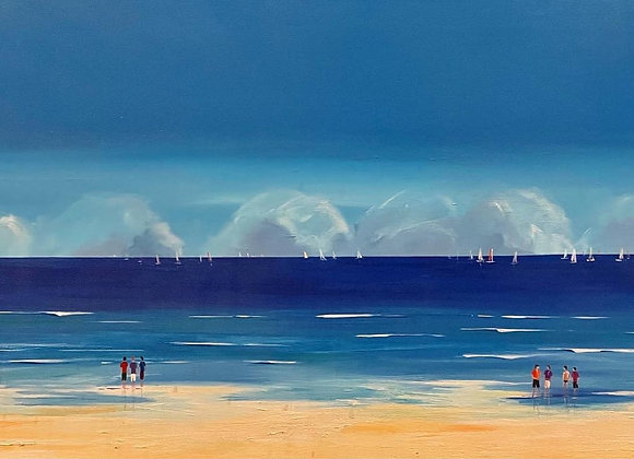 Lively Horizontal Landscape Oil Painting of the Sea with Artists Signature