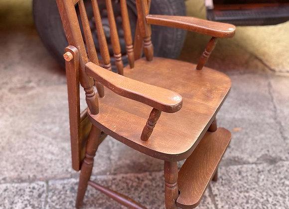 Beautiful Vintage Australian Federation Style Wooden Highchair with Feeding Tray