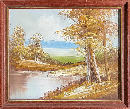 Vintage Framed Impressionist Oil Painting by Unknown Artist