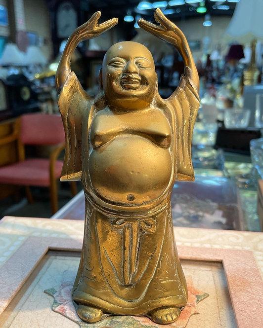 Handmade Statue of Bronze Prosperity HoTei Buddha with Hands Up