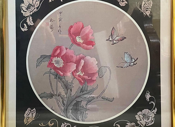 Beautiful Floral Oriental Artwork with Frame