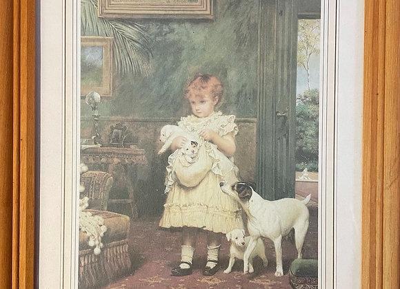 Lovely Little Print of Charles Burton Barber's Print Puppy Love
