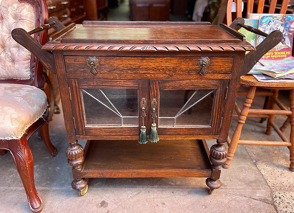 Magnificent Original Tudor Style Drinks Trolley with Leadlight Glass Doors