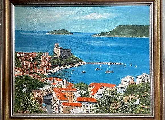 Vivid Framed Painting of Italian Coastline by D. Capitonni