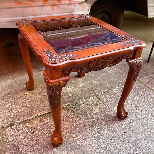 Vintage Chippendale Style Occasional Table  with Bevelled Glass Top & Claw Feet