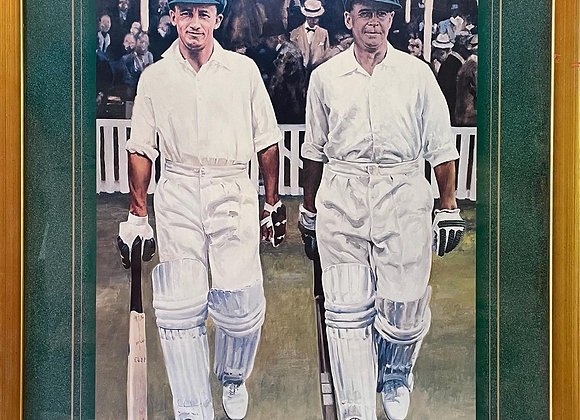 Framed Print of Don Bradman and Bill Ponsford signed by Wes Walters