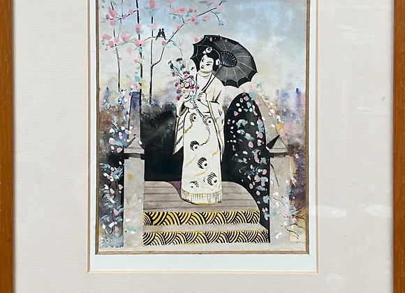 Stunning Framed Watercolour Artwork of Japanese Geisha