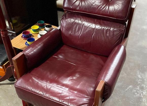 Gorgeous Danish Style Burgundy Leather Armchair (Australia)