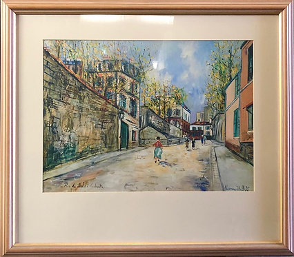 A Print of 'Rue Des Saules Montmartre' Oil Painting by M. Utrillo (1883-1955)