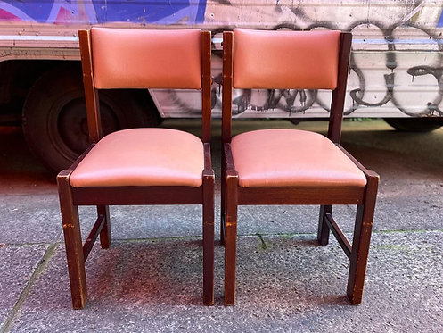 A Beautiful Pair of Vintage Solid Oak Chairs with Upholstery