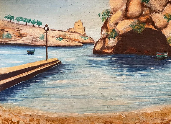 Small Oil Painting of the Sea Shore by Unknown Artist