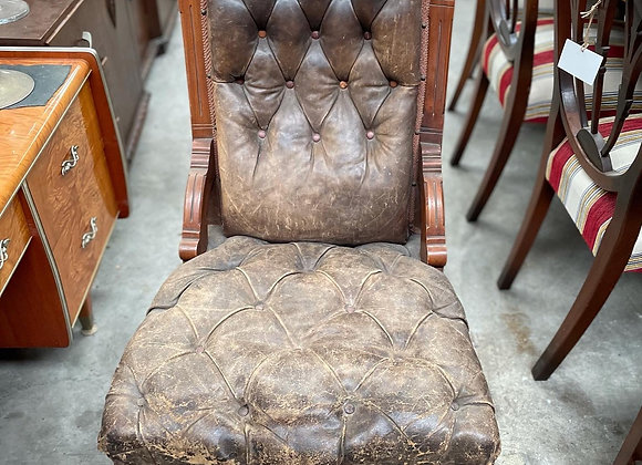 Antique Victorian Grandfather Chair with Original Upholstery & Porcelain Castors