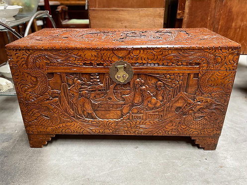 Absolutely Stunning Ancient Oriental Coniferous Wood Hand-Carved Trunk