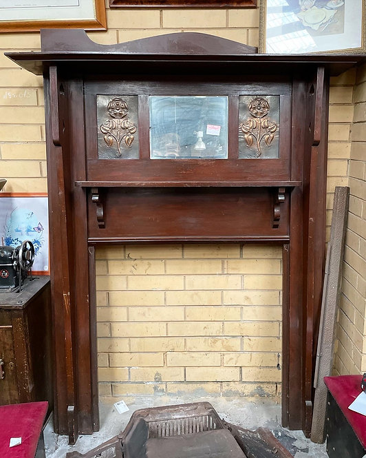 Stunning Antique Fireplace Mantle with Copper Inlay & Bevelled Edge Mirror