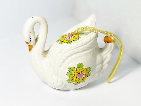 Vintage Hand-Painted Swan Figurine with Floral Ornaments from C.1970s (Japan)