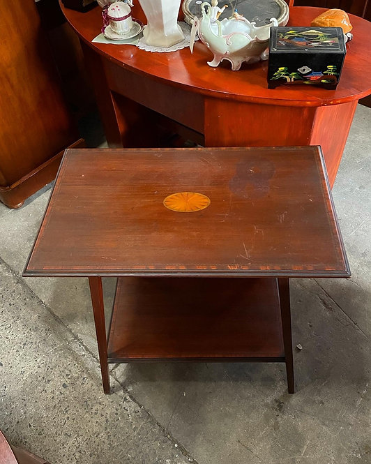 Rectangular Antique 1 Shelf Occasional Table with Inlay