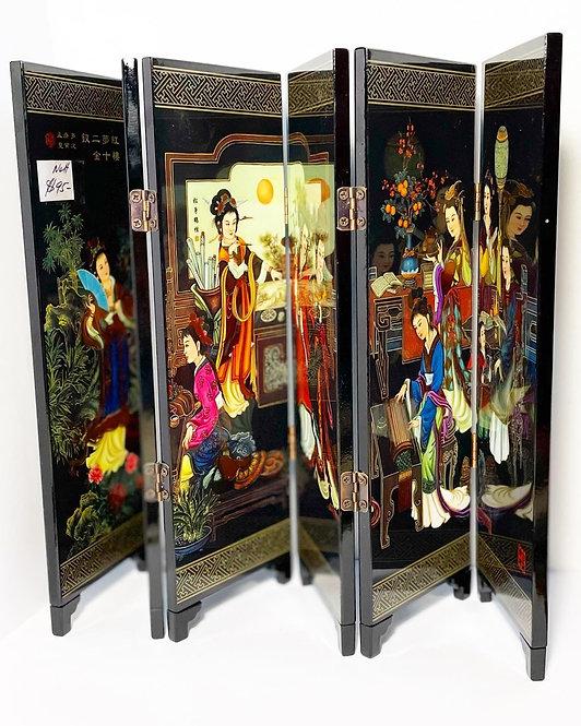 Decorative 6-panel Oriental Lacquer Divider 'Twelve Beauties of Jinling' (Japan)