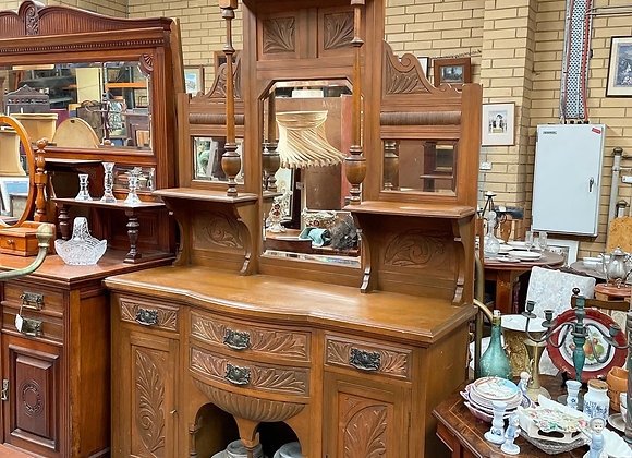 Lovely Hand-Carved Victorian Era Sideboard with Pilasters & Bevelled Mirrors