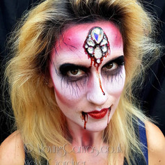 Glam Zombie adult face paint
