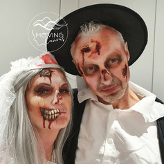 Zombie bride and groom face paint
