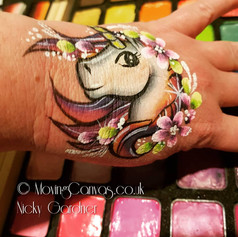 Unicorn hand facepaint design