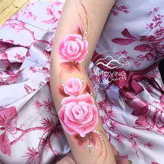 Rose arm face paint design