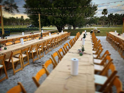 rustic folding chair and burlap line
