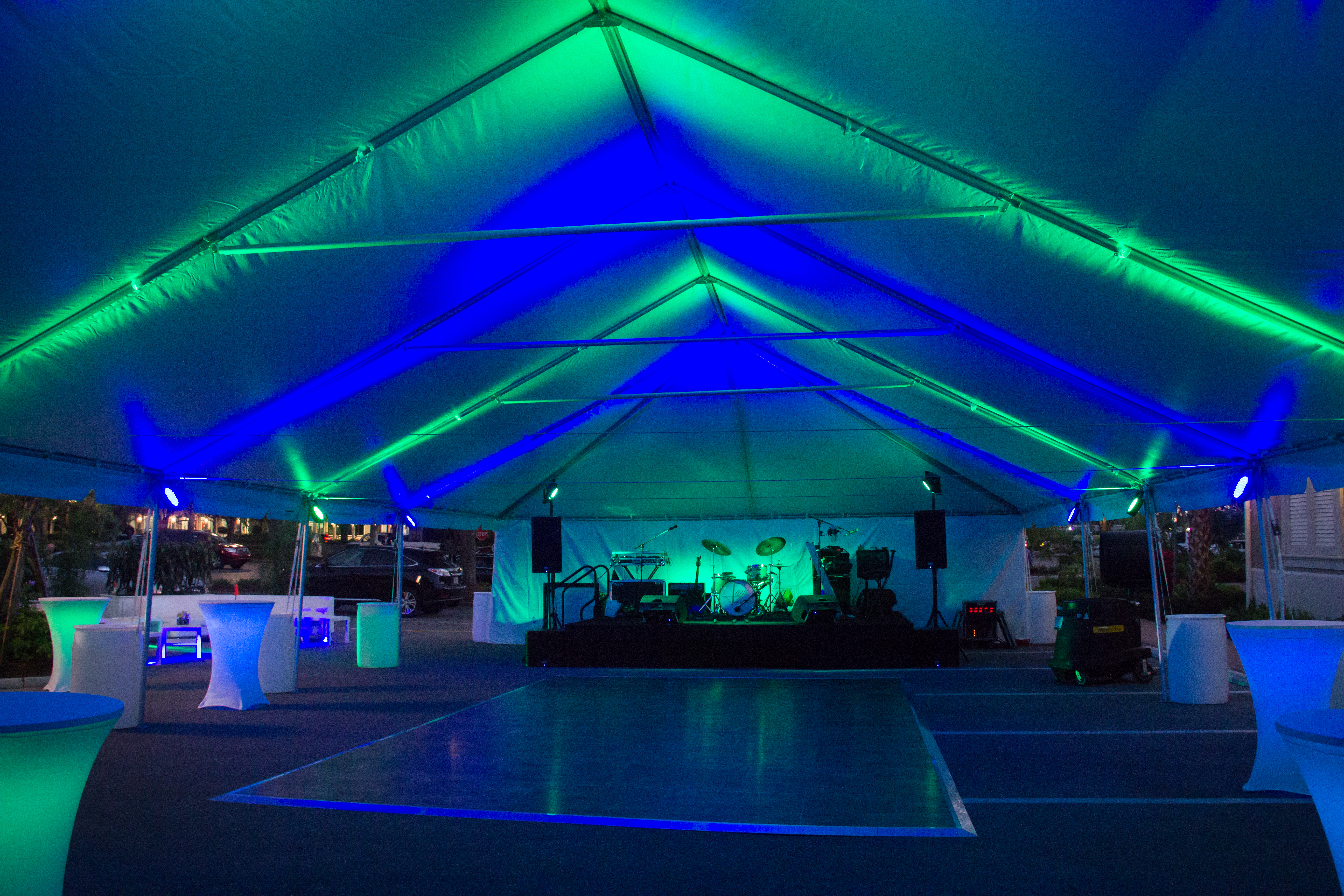tent uplighting dance floor