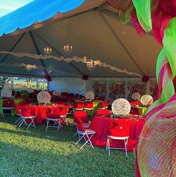 festive tent decor