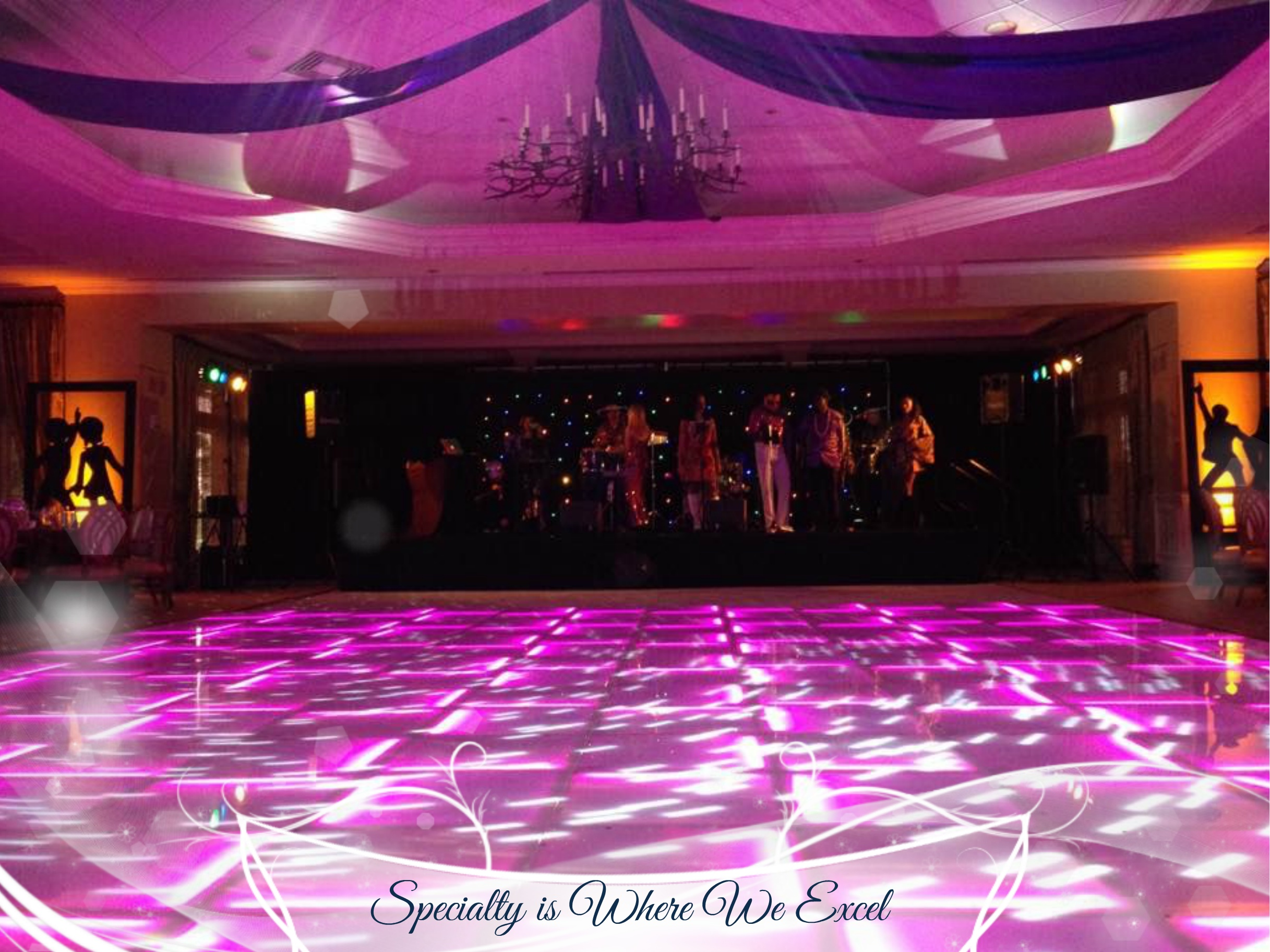 led dance floor & ceiling treatment