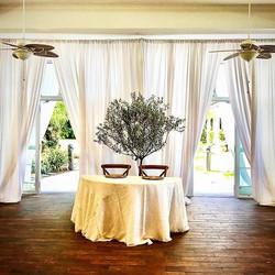 pipe and drape sweet heart table