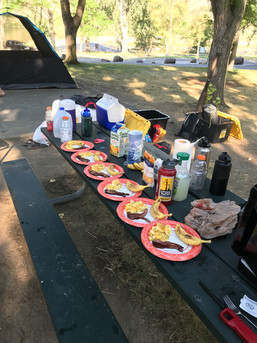 Breakfast at the campsite before heading out to fish