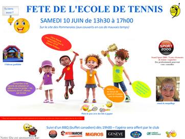 RAPPEL: Inscription à l'école de tennis jeunes pour la saison 2017 / 2018 et fête de l'école